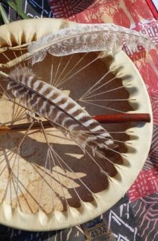 Medicine Drum with Feathers and a beater